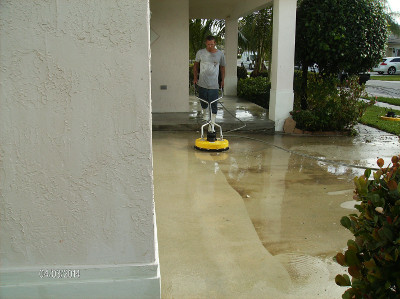 Patios and walkways pressure cleaned