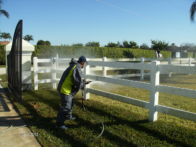 Power washing paddock fences