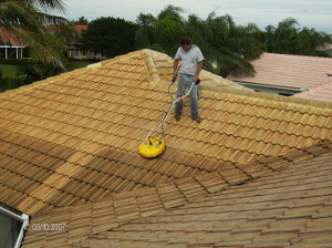 Pressure Cleaning a roof in West Palm Beach