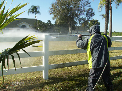 Property maintenance includes power washing fences