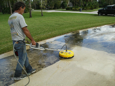 Pressure washing driveways is one of Beav's specialties.